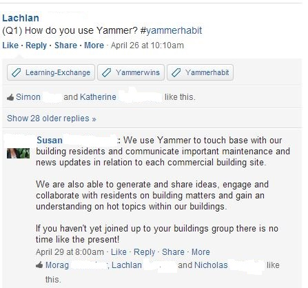 Q1) How do you use Yammer?