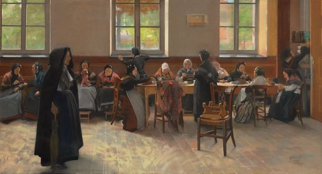 800px-Hubert_Vos's_painting_'The_Knitting_Room