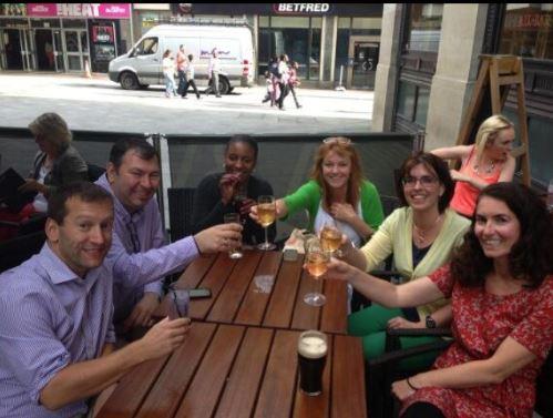 Helen's tweetup partners enjoying a refreshing beverage