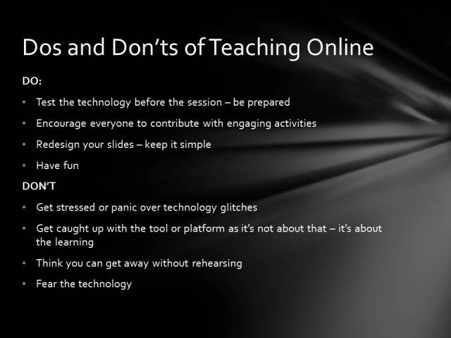 Dos and Don'ts of Teaching Online